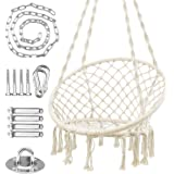 WBHome Hammock Chair Macrame Swing for Indoor Outdoor, Handmade Knitted Cotton Rope, Max Weight 265 Lbs (Hanging…
