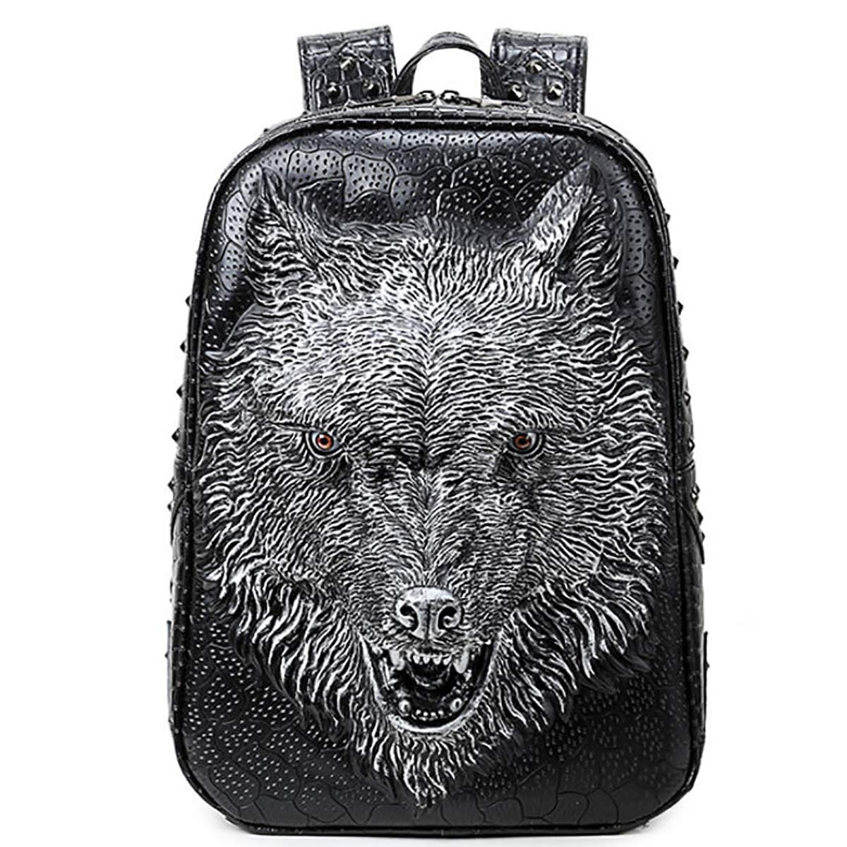 Metallic Creative Backpack Pu Leather Backpack Men's Laptop Bag Female 3D Wolf Head Personality Cool Backpack