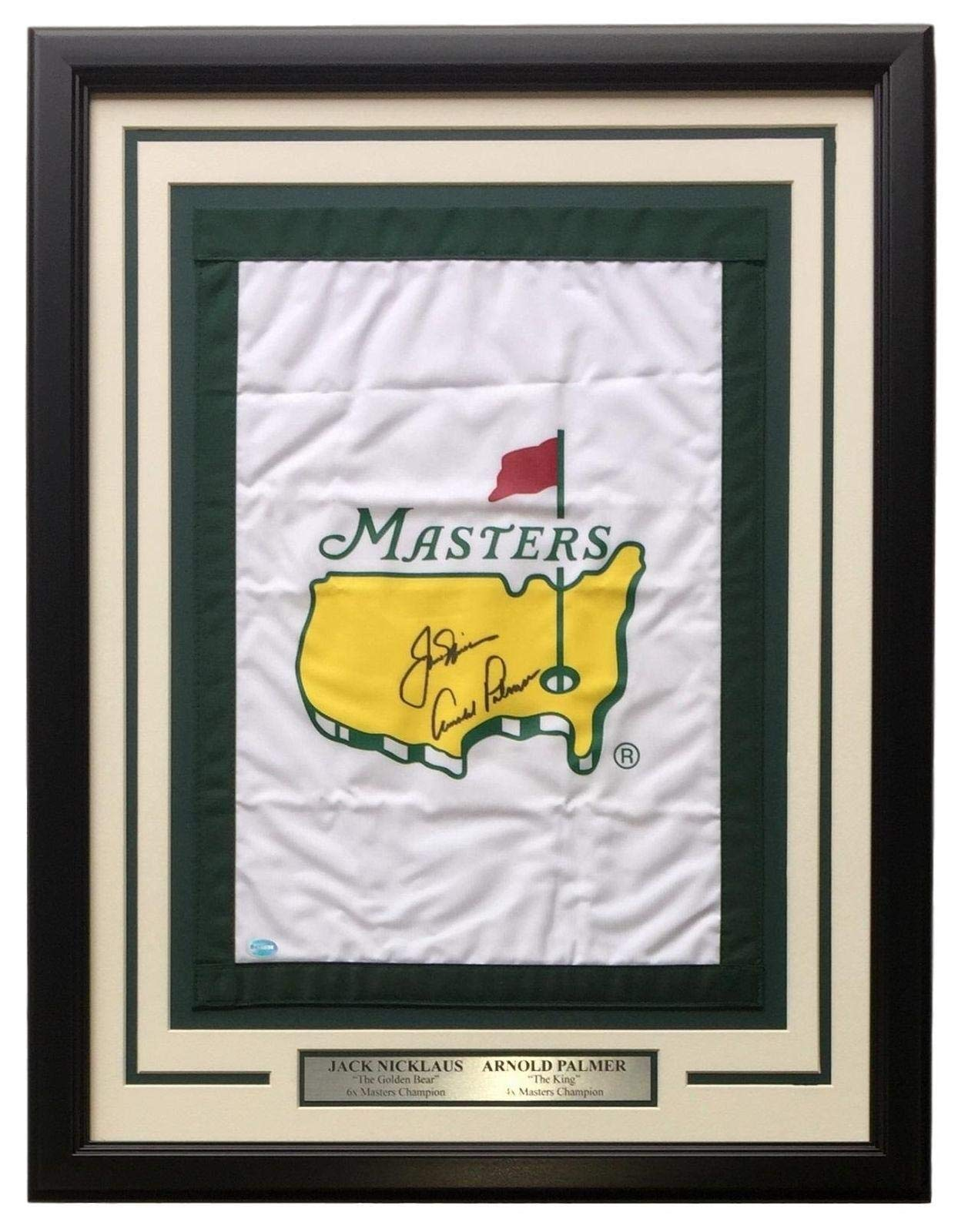 Jack Nicklaus Arnold Palmer Dual Signed Framed Masters Golf Flag LOA JSA Certified Autographed Pin Flags
