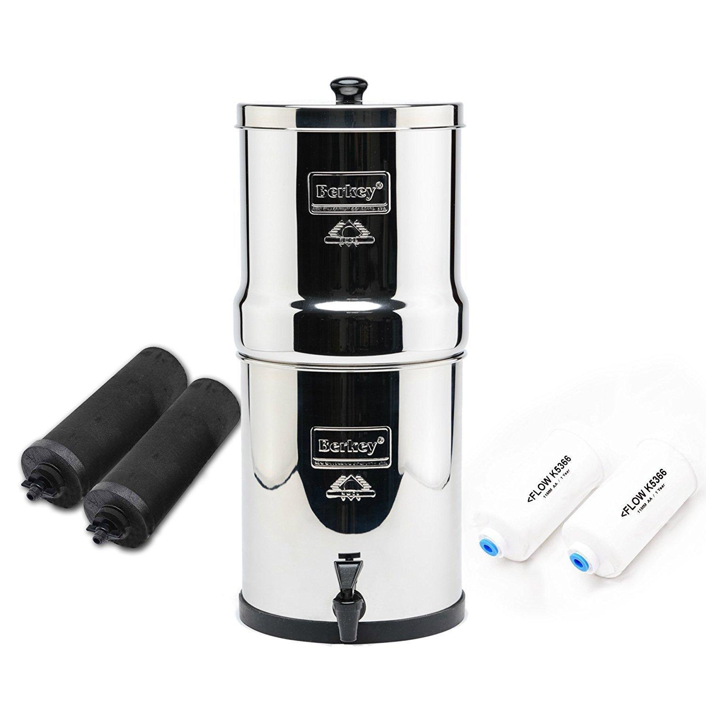 Complete Travel Berkey Water System,2x black purifiers ~2x PF-2 Fluoride filter~ BT2X2-BB_PF2