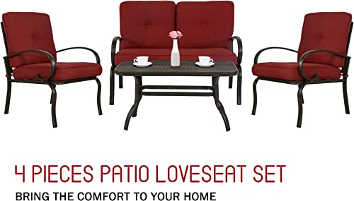 Homevibes 4 Pieces Patio Outdoor Loveseat Dining Chair Furniture Set Club Chair Garden Bench Coffee Table Seating Wrought Iron Sofa Love Seat
