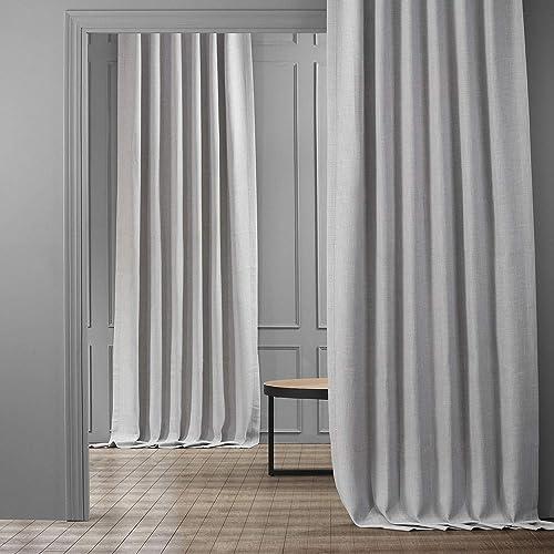 HPD Half Price Drapes BOCH-LN1859-108 Faux Linen Blackout Room Darkening Curtain 1 Panel , 50 X 108, Heather Grey