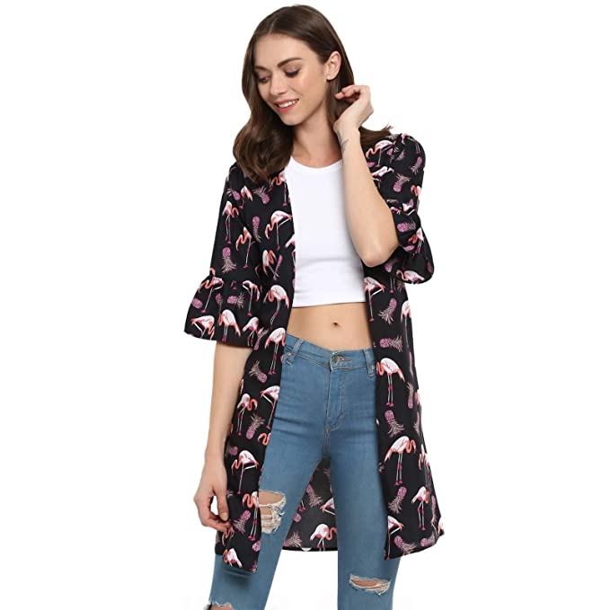 70fa44eafc4 Spotstyl Black Printed Long Shrugs Women Western Casual Tops for Women  Western Summer 2019 Women Tops Latest Women Apparel Clothing Ladies Girls   Amazon.in  ...