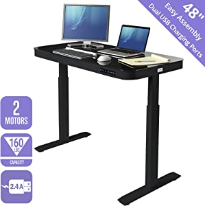 """Seville Classics OFF65871 Airlift Tempered Glass Electric Standing Desk with Drawer, 2.4A USB Ports, 3 Memory Buttons (Max. Height 47"""") Dual Motors, Black Top, Black, Black"""