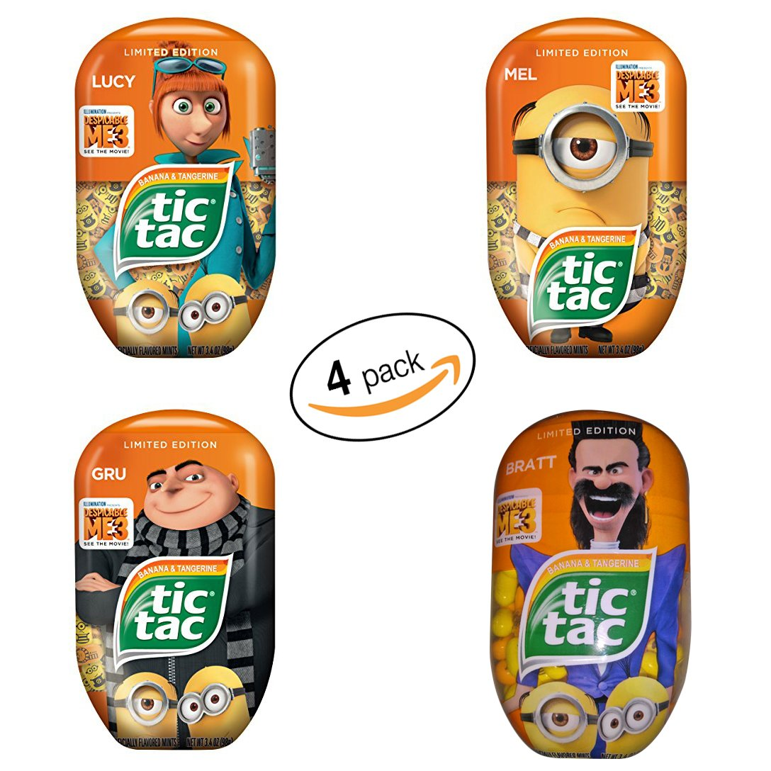 Tic Tac Mints, Despicable Me 3, Banana & Tangerine, 3.4 oz. each (Pack of 4)