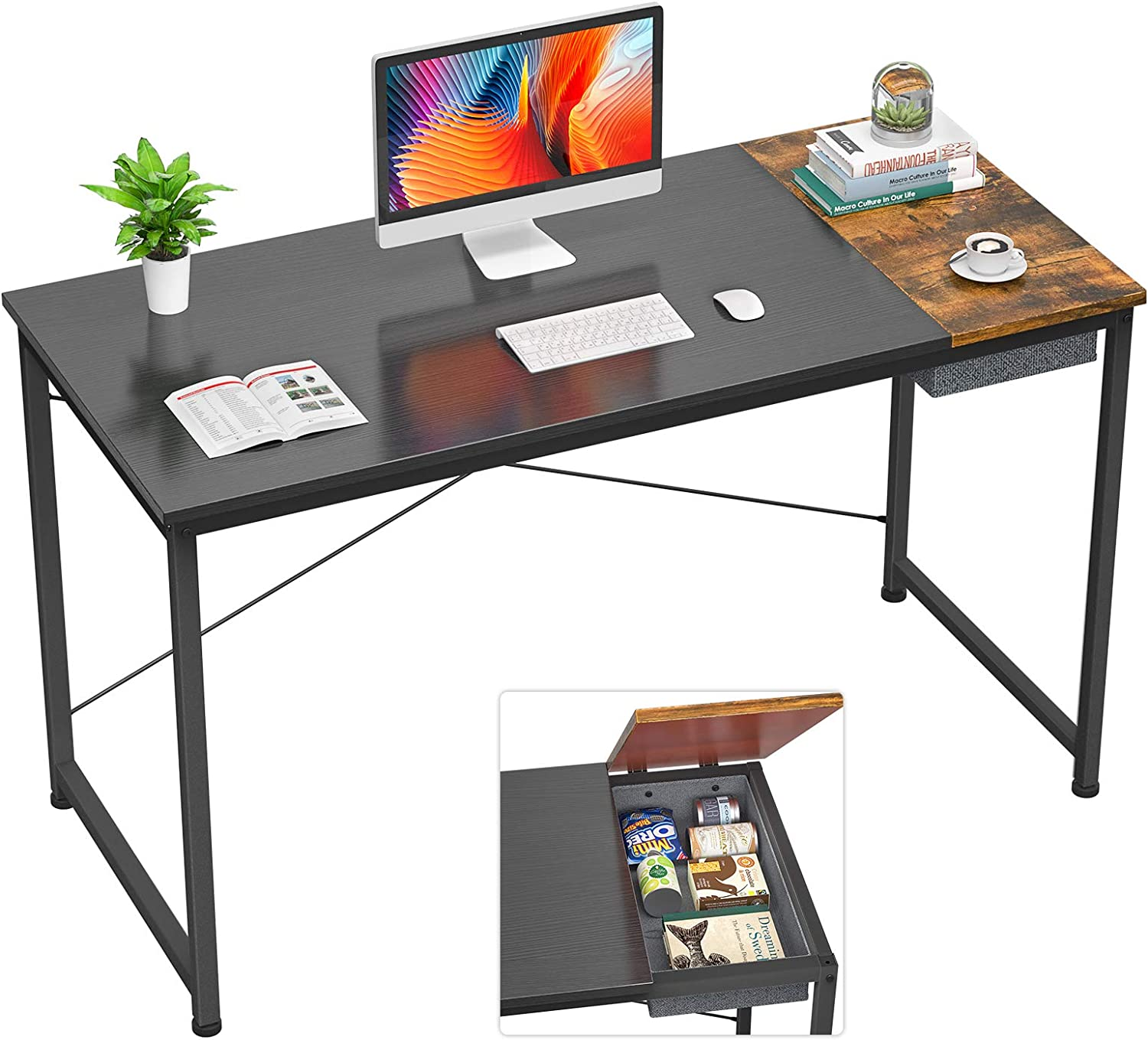 """Foxemart 47 Inch Computer Desks with Drawer Modern Study Writing Table, 47"""" Simple Sturdy Laptop Home Office Desk, Black and Rustic Brown"""