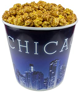 Signature Popcorn - Gourmet Caramel Flavor - 1-Gallon Blue Chicago Skyline Reusable Plastic Bucket Tin