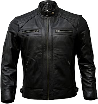 Mens Stylish Motorcycle Biker Genuine Lambskin Leather Jacket 369