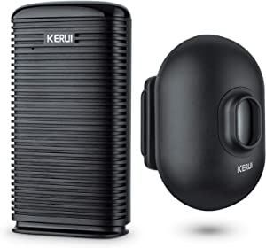 KERUI Long Range Wireless Driveway Alarm Indoor Door Chime Receiver Outside Waterproof Infrared Motion Sensor Detector DIY Home Security doorbell Alarm Kit - LED Indicator