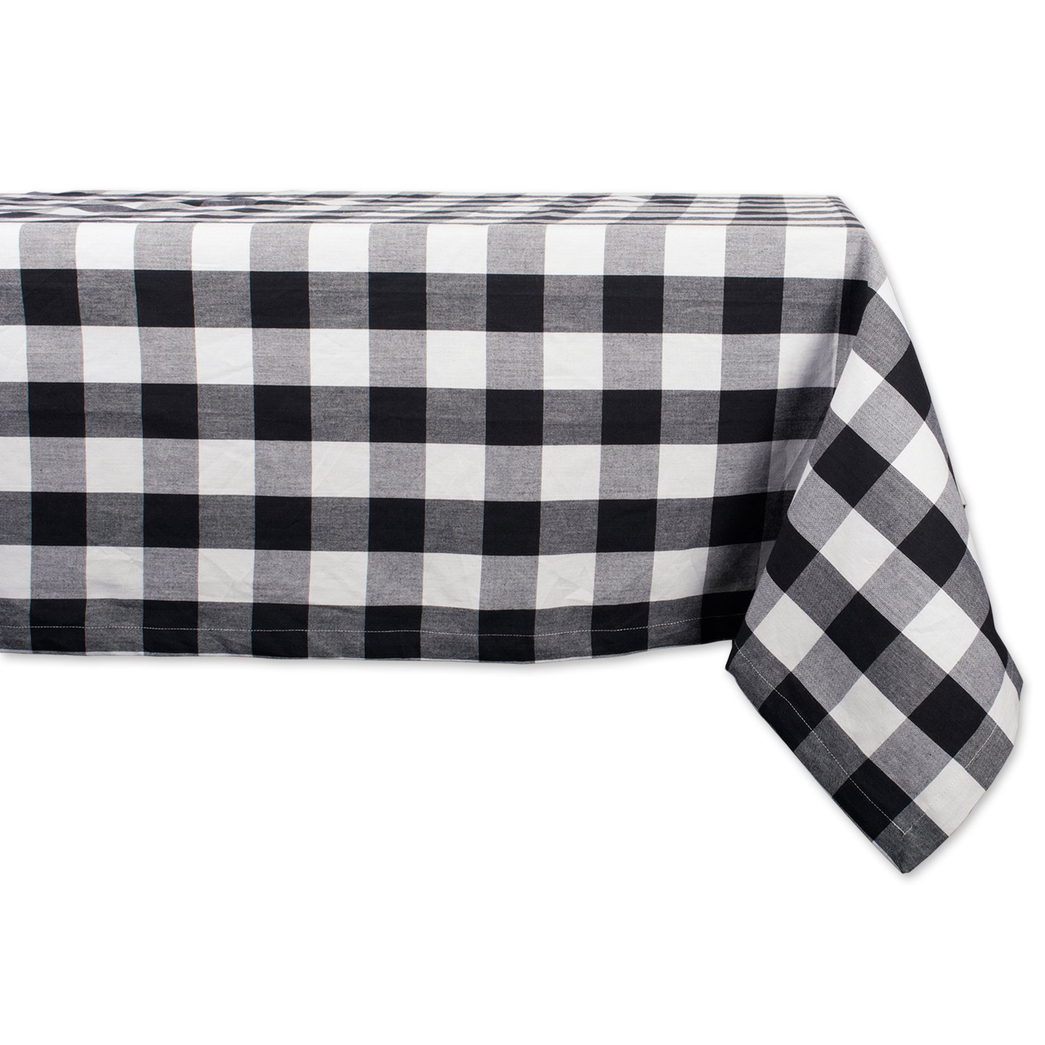 DII Cotton Buffalo Check Plaid Rectangle Tablecloth for Family Dinners or Gatherings, Indoor or Outdoor Parties, & Everyday Use (60x84'',  Seats 6-8 People), Black & White by DII