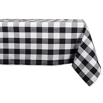 DII 52x52u0026quot; Square Cotton Tablecloth, Black U0026 White Buffalo Check Plaid    Perfect For