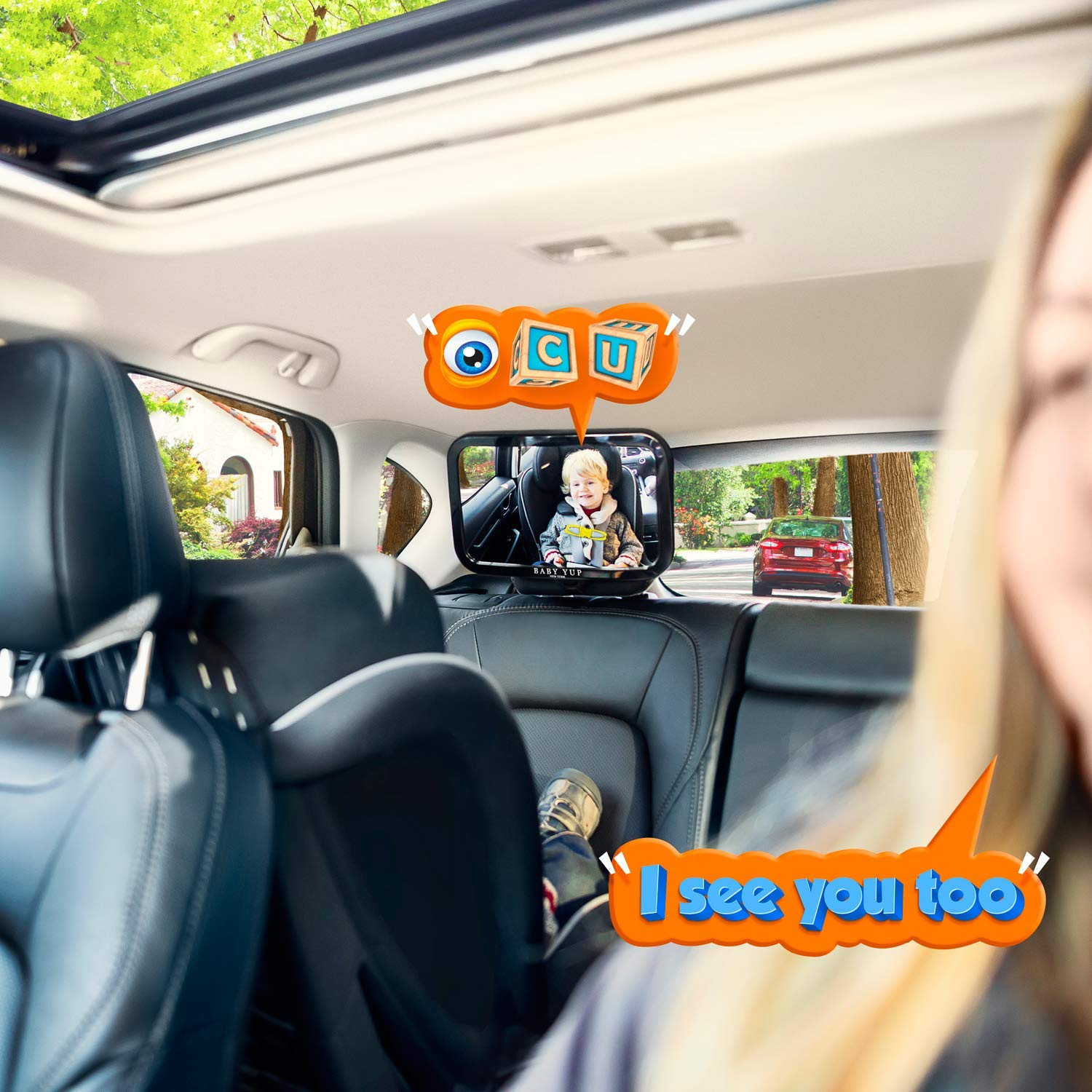 Black Sequn Upgrade Baby Car Backseat Mirror Rear View Facing Back Seat Mirror Baby Safety Rearview Applicable to Any Vehicle