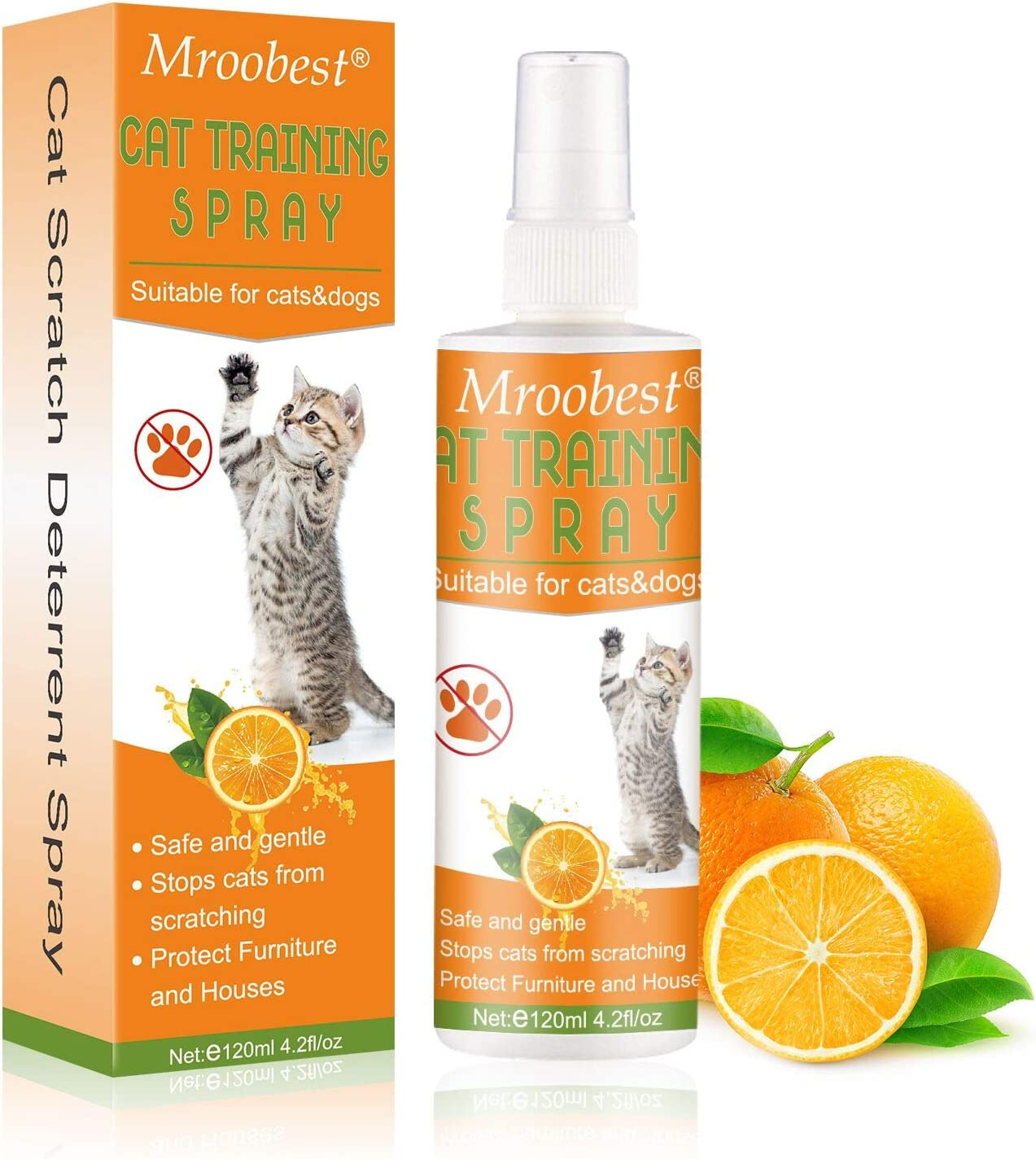 Mroobest Cat Scratch Deterrent Spray, Cat Trainin Spray, Stop Scratch Training Spray, Stress Prevent and Relax - Anti-Anxiety Spray for Pets, Suitable for Plants, Furniture, Floors