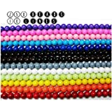 Goelx Glass Beads 10 Lines Strings Different Colors Set 250 Beads For Jewellery Making,Craftworks. Bead Size 8Mm