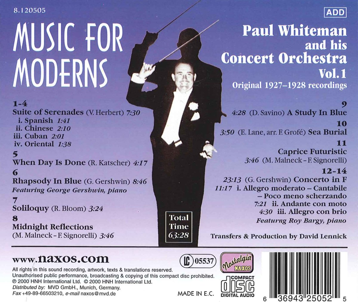 Music for Moderns: Paul Whiteman and His Concert Orchestra, Vol. 1: Original 1927-1928 Recordings