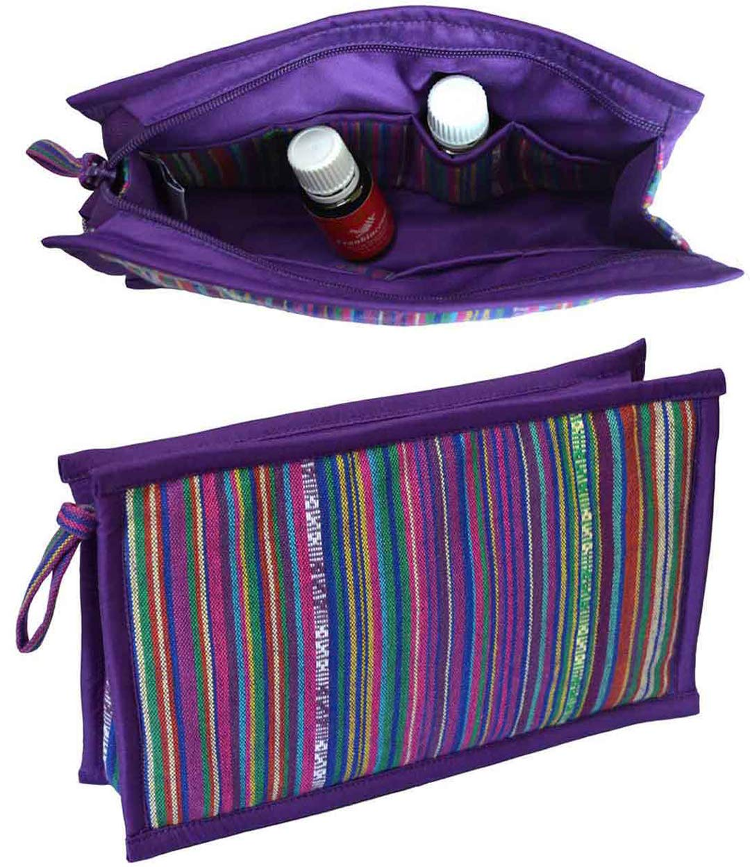 12 Bottle Essential Oil Case | Travel Bag for doTERRA - Young Living - Now | EO Pouch for 10ml Roller Bottles & 5ml 15ml Oils | KEEP YOUR OILS SAFE & AT YOUR FINGERTIPS (Purple)