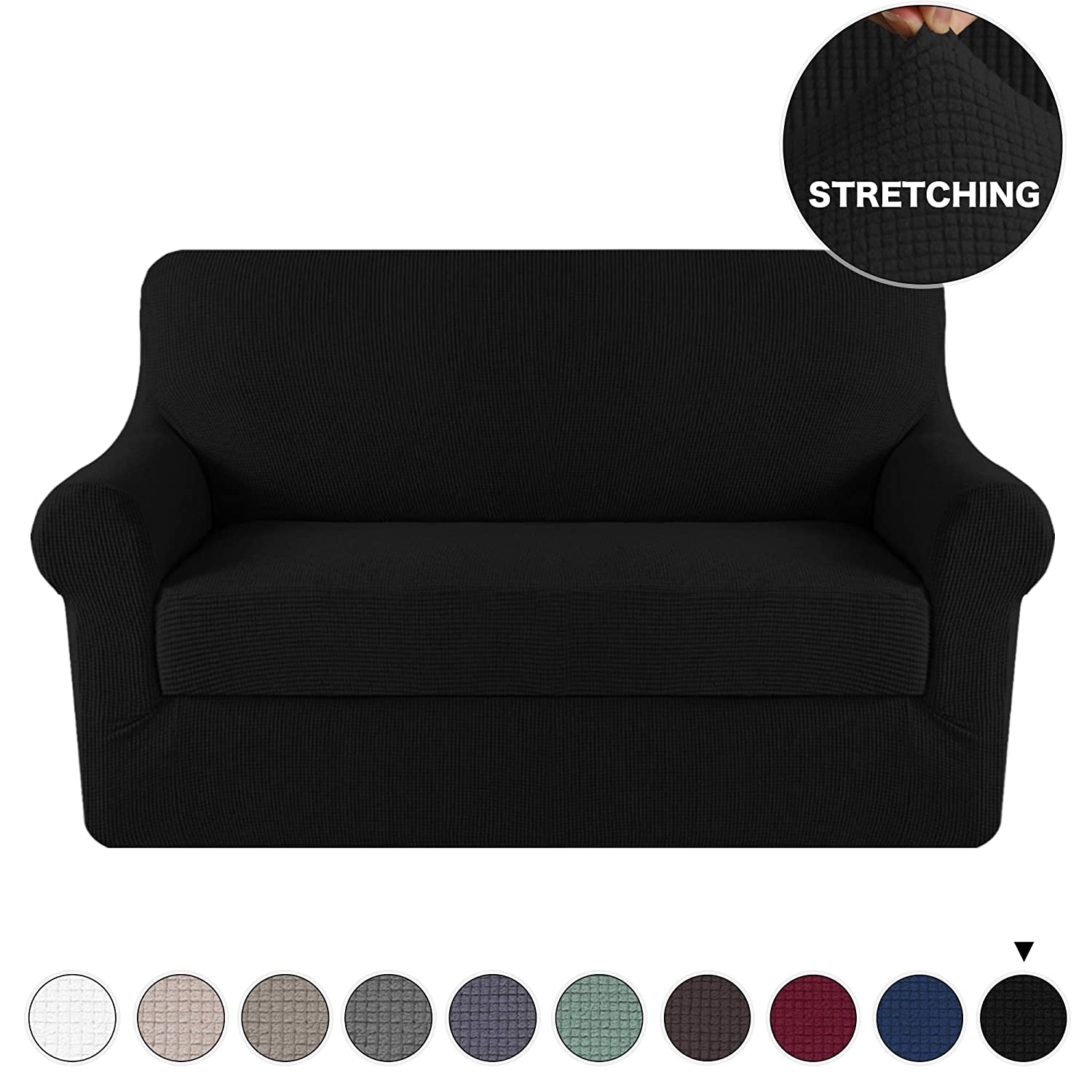 Amazon Com Turquoize Stretch Slipcover Sofa Loveseat Cover 2 Piece
