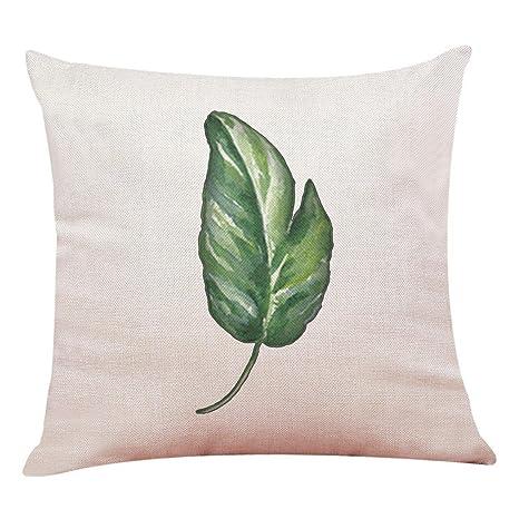 Lenfesh Fundas de Cojines Almohada de Plantas Tropicales Hoja Verde Decorativos Diseño para Sillas Camas Sofás Sofás (H)