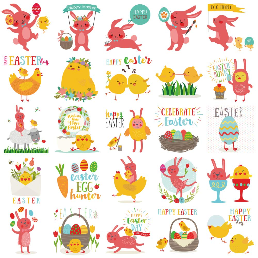 150 Packs Easter Tattoos Temporary Bunny Chicken Tattoos for Easter Egg Hunt Party Favors FRONT