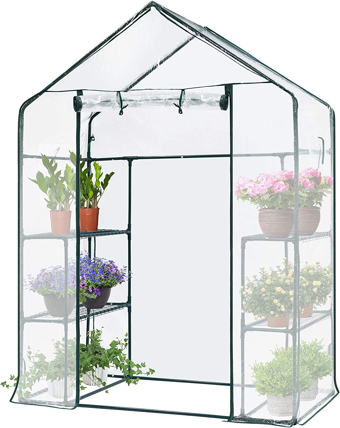 VIVOSUN Transparent 56x28x76-Inch Mini Walk in Green House with Window and Anchor Plant Garden Hot House