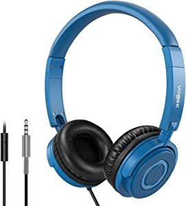 Vogek Headphones with Microphone, Portable On Ear Headsets Wired with Stereo Bass, 1.5M Tangle Free Cord, Adjustable Headband for Home Office Travel, Navy