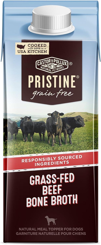 Castor & Pollux Pristine Grain Free Grass-Fed Beef Bone Broth Dog Food Topper, (24) 8.4oz cans