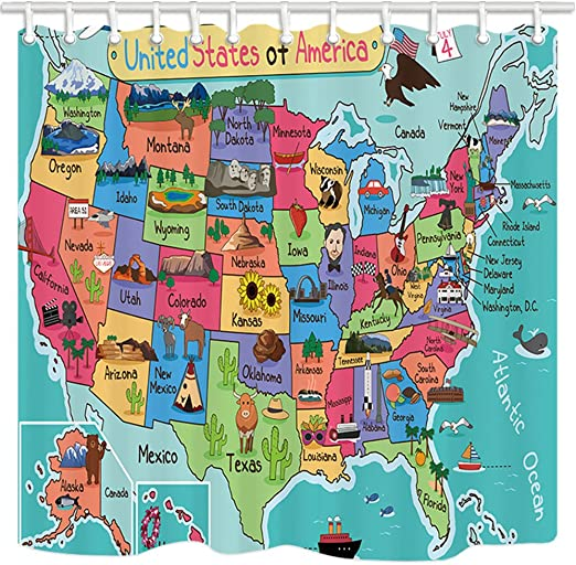 United States Map Image Amazon.com: NYMB Kids Map of The United States Bath Curtain