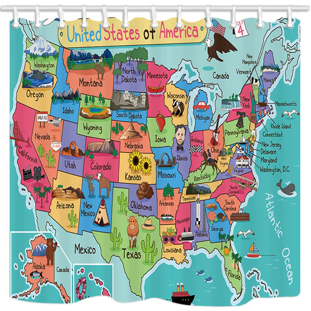 NYMB Kids Map of The United States Bath Curtain, Cartoon Fun Facts Geography USA Map, Polyester Fabric Waterproof Shower Curtain for Bathroom, 69X70in, Shower Curtains Hooks Included, Turquoise Red