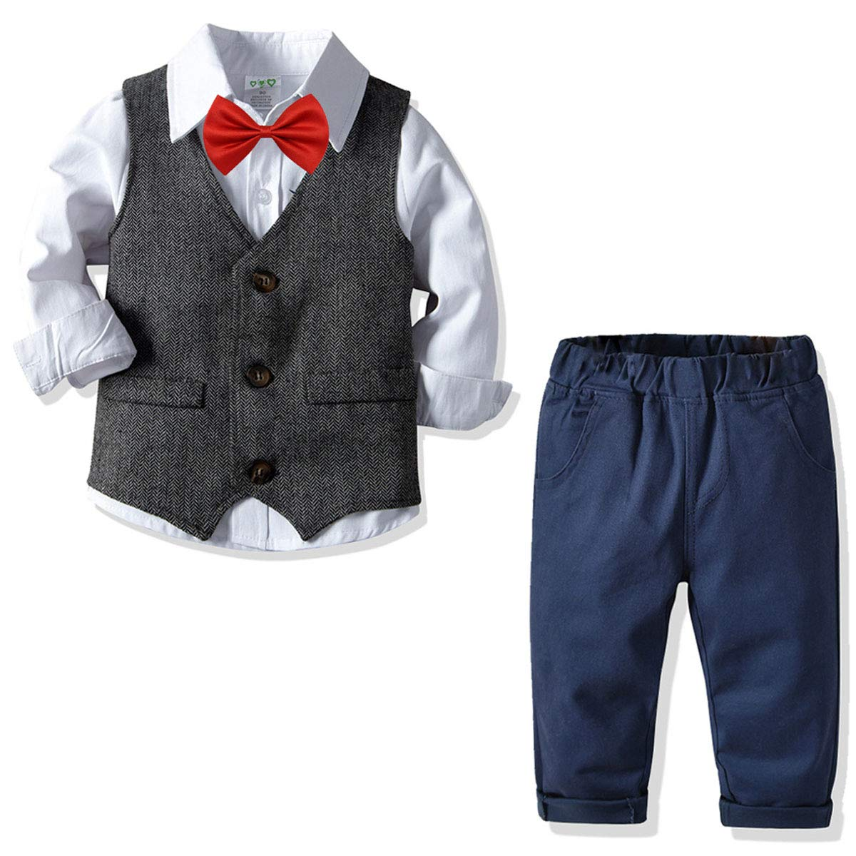 Vest Bow Tie Wedding Suits 4Pcs Outfits Pants Toddler Boys Gentleman Clothing Sets Cotton Long Sleeve Shirts