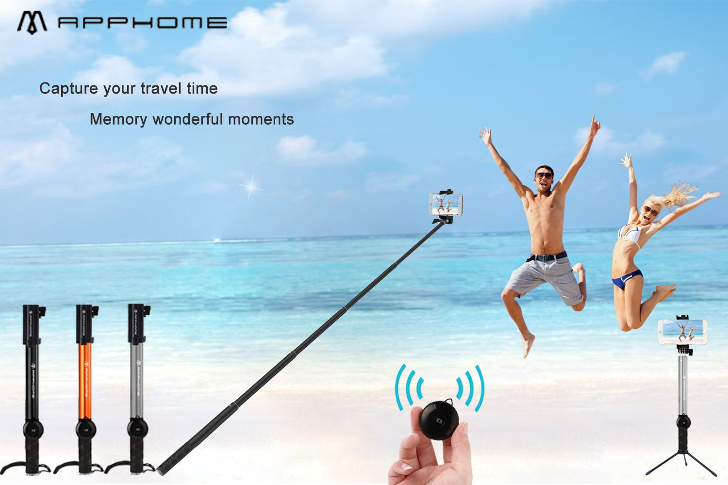 Bluetooth Selfie Stick with Tripod, APPHOME Aluminum Extendable Monopod with Wireless Remote Shutter Adjustable Phone Holder for iPhone 7 Se 6s 6 Plus Samsung Galaxy S6 Note 5 4 Android, Orange