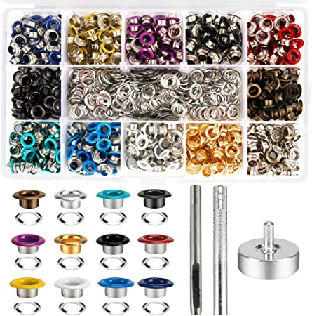 1//4 Inch Inside Diameter Metal Grommet Kit 200 Set Grommets Eyelets Sets with 3 Pieces Install Tool Kit and Box for Fabric Shoes Clothes Crafts Bag DIY Project 4 Colors