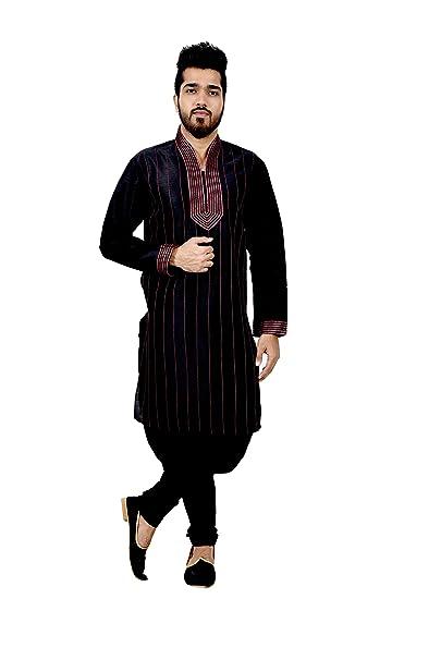 Amazon.com: Pajama Kurta tradicional indio de seda negra ...