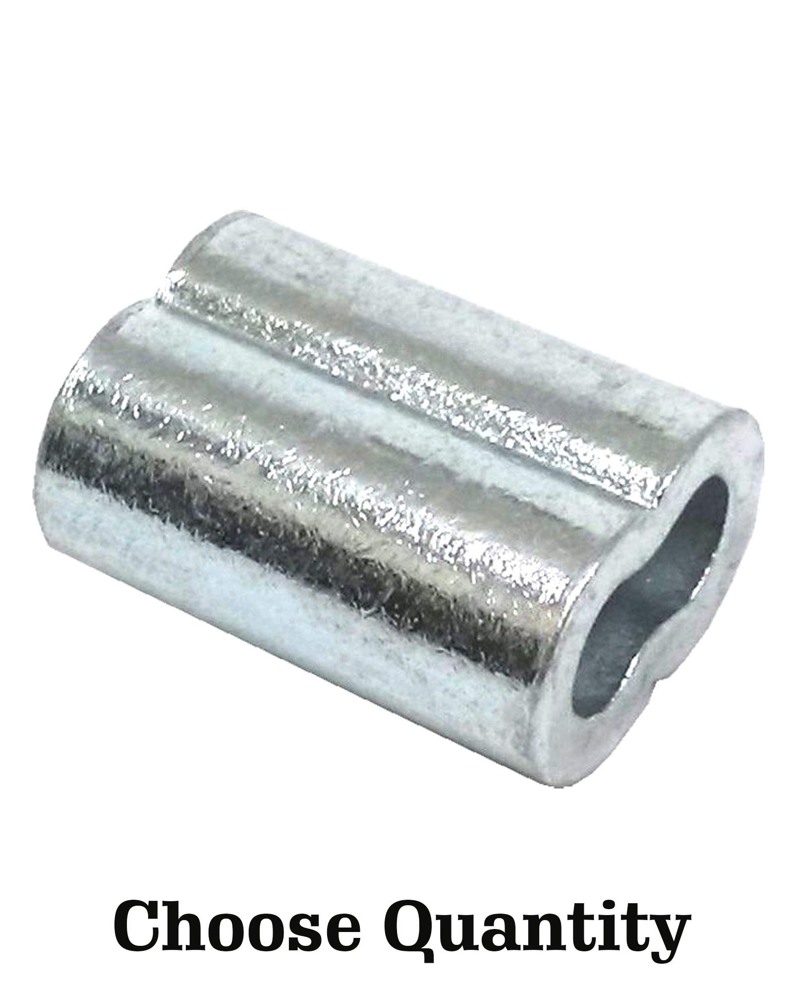 Zinc Plated Copper Swage Sleeves - Crimping Loop Sleeve for 5/32'' Diameter Wire Rope and Cable - Zinc Plated Copper Double Barrel Crimp Sleeves - Zinc Plated Copper Sleeves for Wire