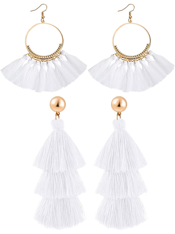 e9cfa5b82ebc8c Hestya 2 Pairs Tassel Earrings for Women Girls Handmade 3 Tiered Tassel  Dangle Earrings and Gold Hoop Earrings (White): Amazon.ca: Jewelry
