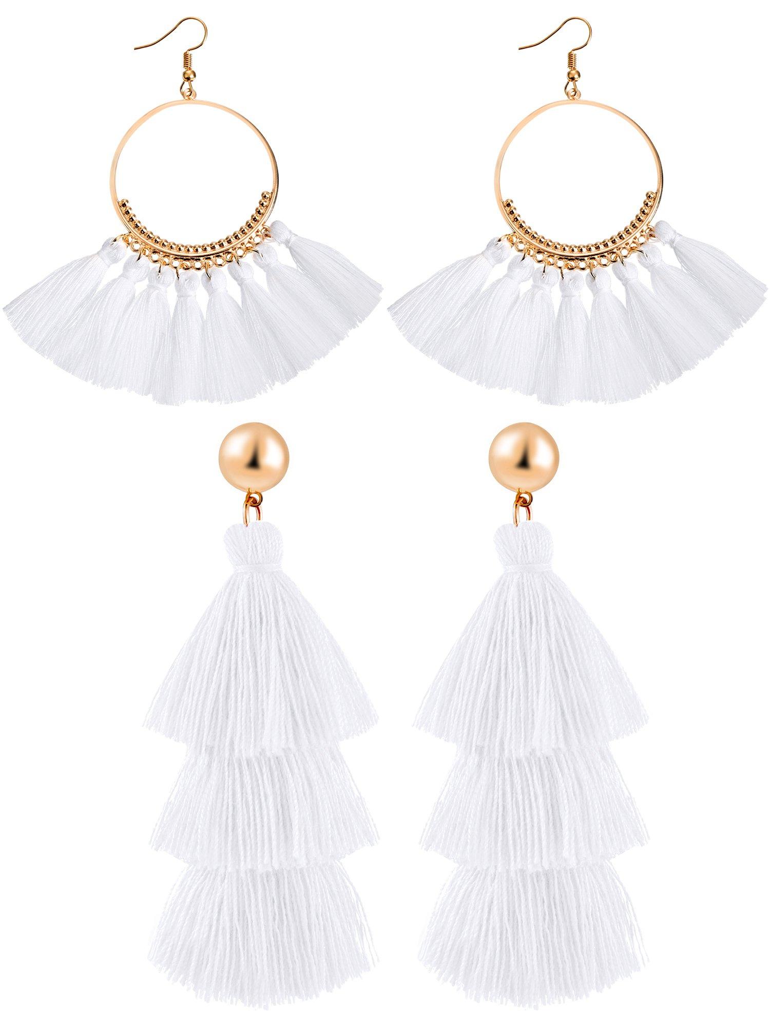 Hestya 2 Pairs Tassel Earrings for Women Girls Handmade 3 Tiered Tassel Dangle Earrings and Gold Hoop Earrings (White)