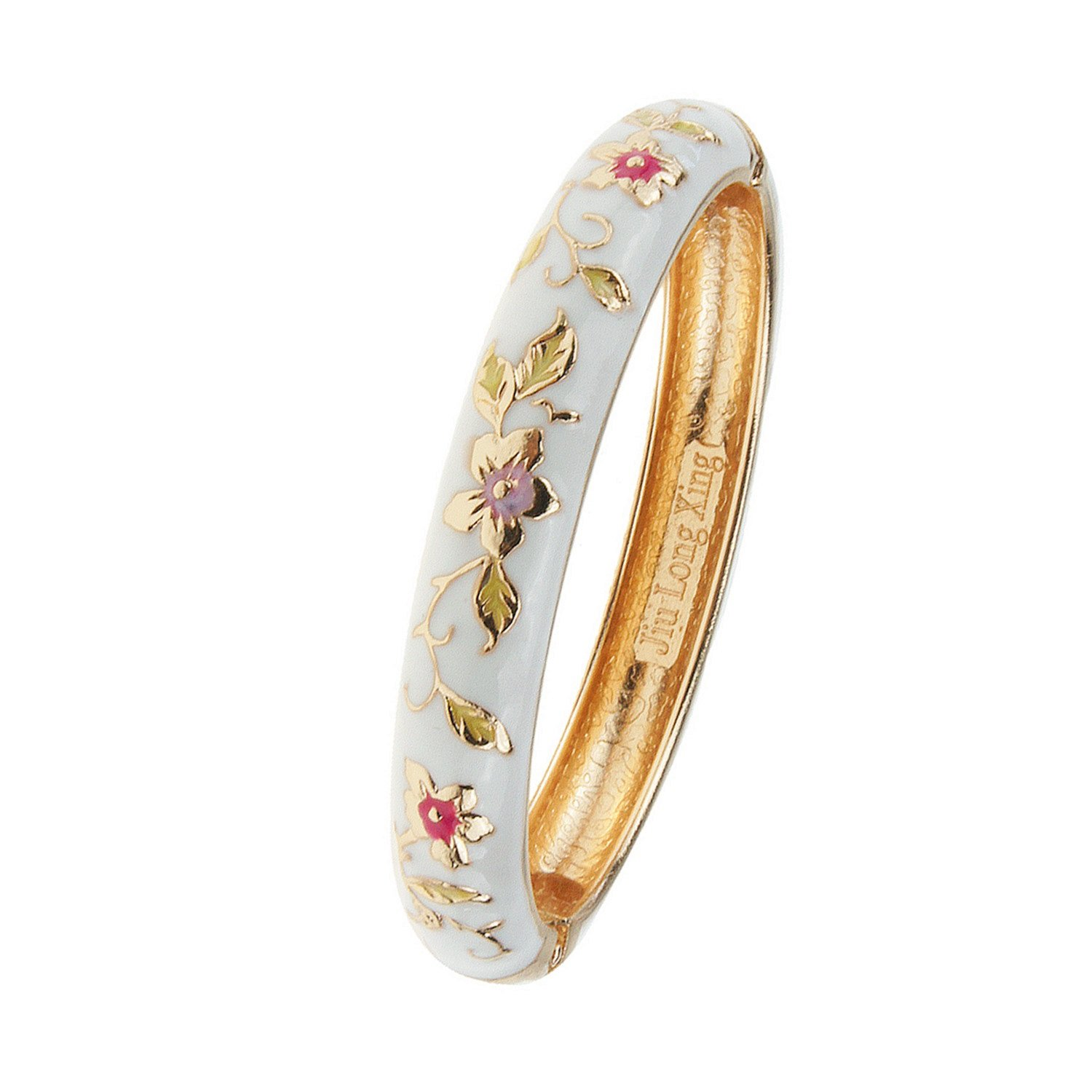 UJOY Vintage Bracelet Colorful Cloisonne Jewelry Gift Women Girls Hinge Enameled Bangles Bracelets 55A82 white
