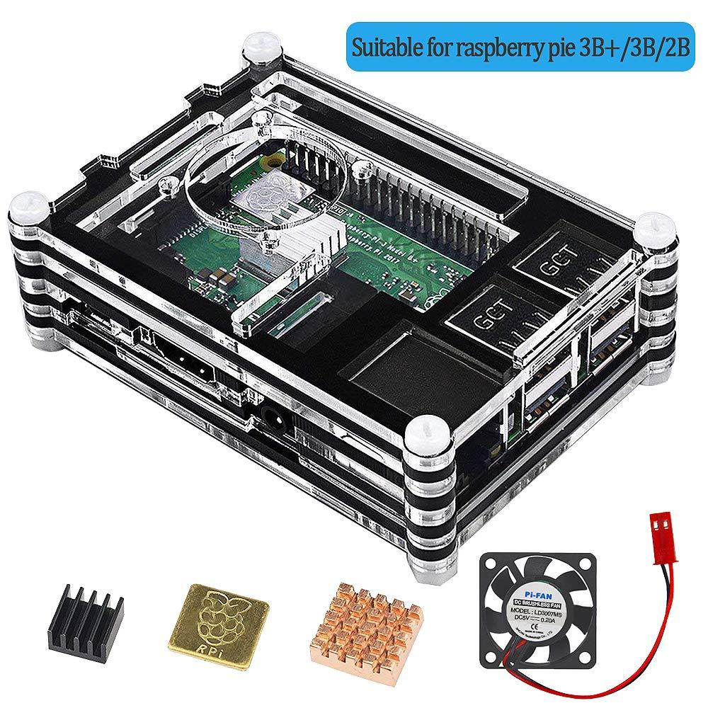 VSTON Raspberry Pi 3 B + Caja con Ventilador 3 Piezas Refrigeración Disipadores térmicos, Funda para Pi 3B más 3 Modelo B 2b