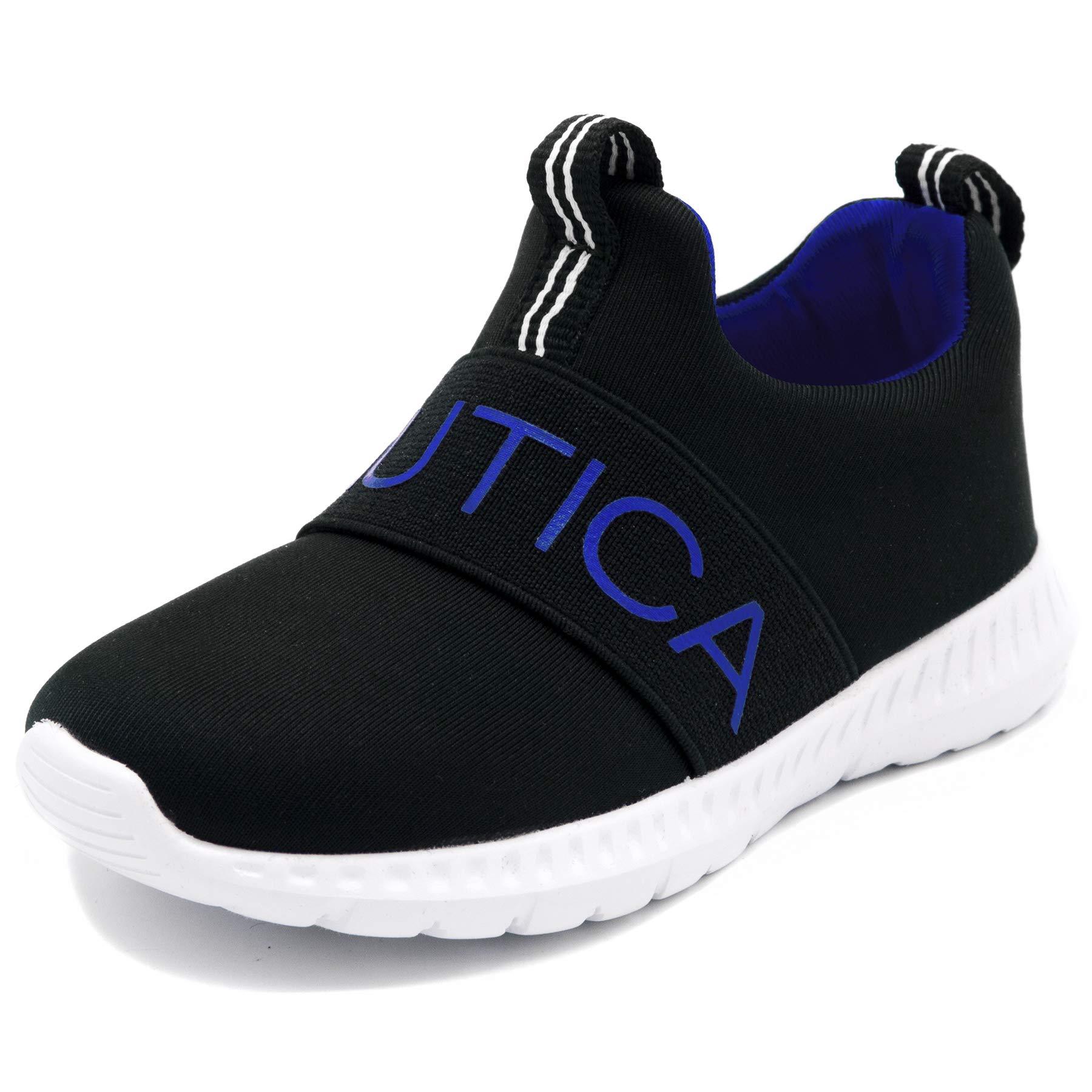 Nautica Kids Boys Fashion Sneaker Athletic Running Shoe-Mattoon-Black/Blue-9