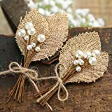 LaRibbons Natural Burlap Flowers Set, Include