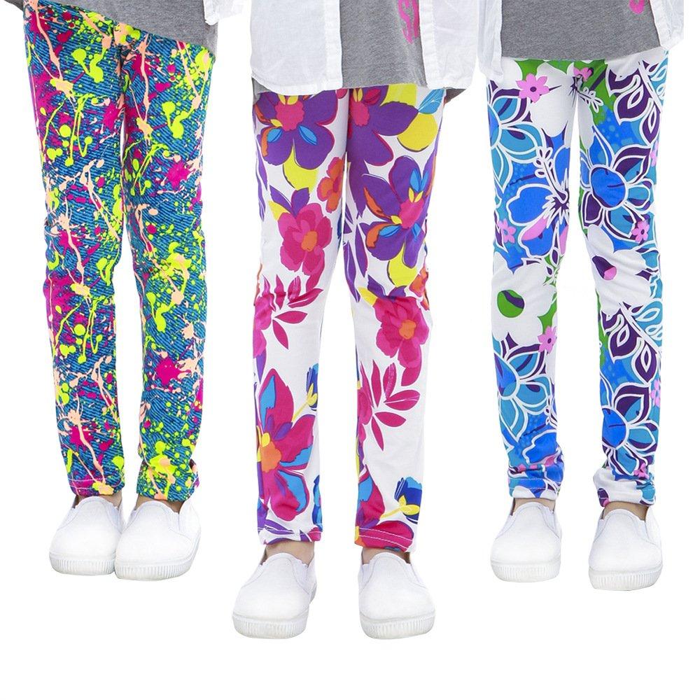 slaixiu 3-Pack Printing Flower Girl Leggings Kids Classic Pants 4-13Y(ADY_6-7,70#)