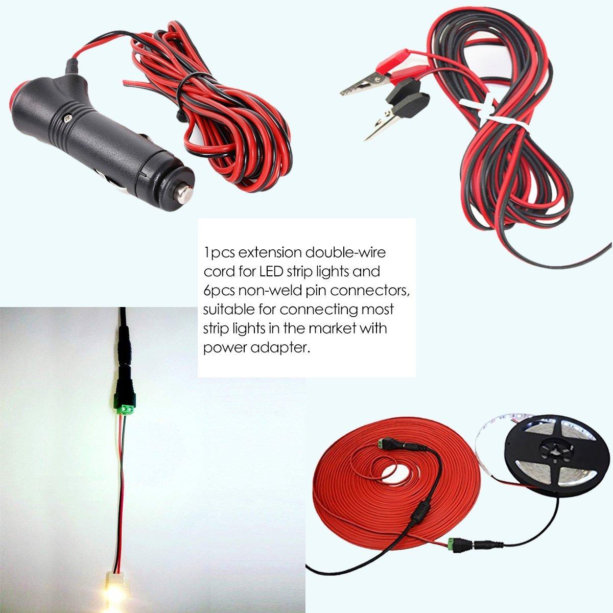 LegendTech 20m 2 Pin Tira de LED Cable de Extensión LED Strip Conector del Cable de Conexión de LED con 6 Piezas Sin Soldadura Conectores de Pines DC para ...