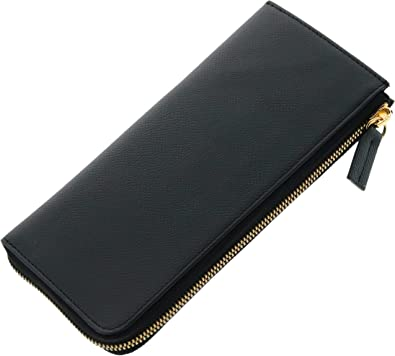 76cdd5679deb フランス 牛革 L字ファスナー レディース 長財布 スリム 薄型 レザー 本革 : ブラック