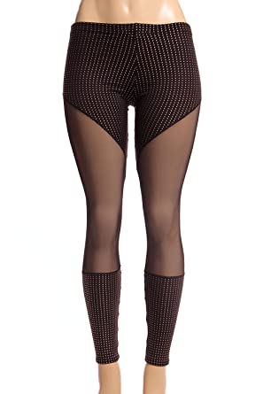 9989ac5d28b9 Image Unavailable. Image not available for. Color: Womens Mesh and Rhinestone  Leggings for Women Bottom for Girl