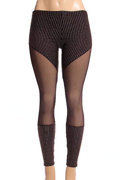 Amazon.com: Para mujer y diamantes de imitación Leggings de ...