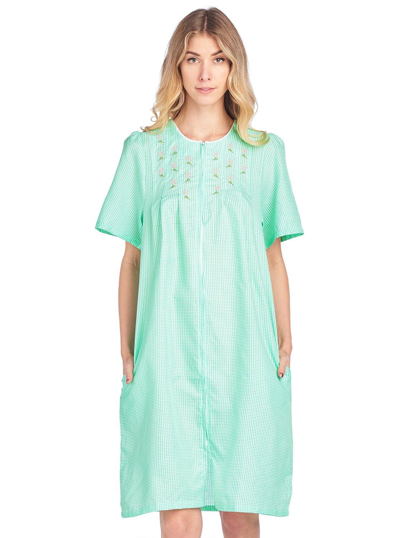 Casual Nights Women's Zipper Front Short Sleeve Gingham Housecoat Duster - Green - Medium