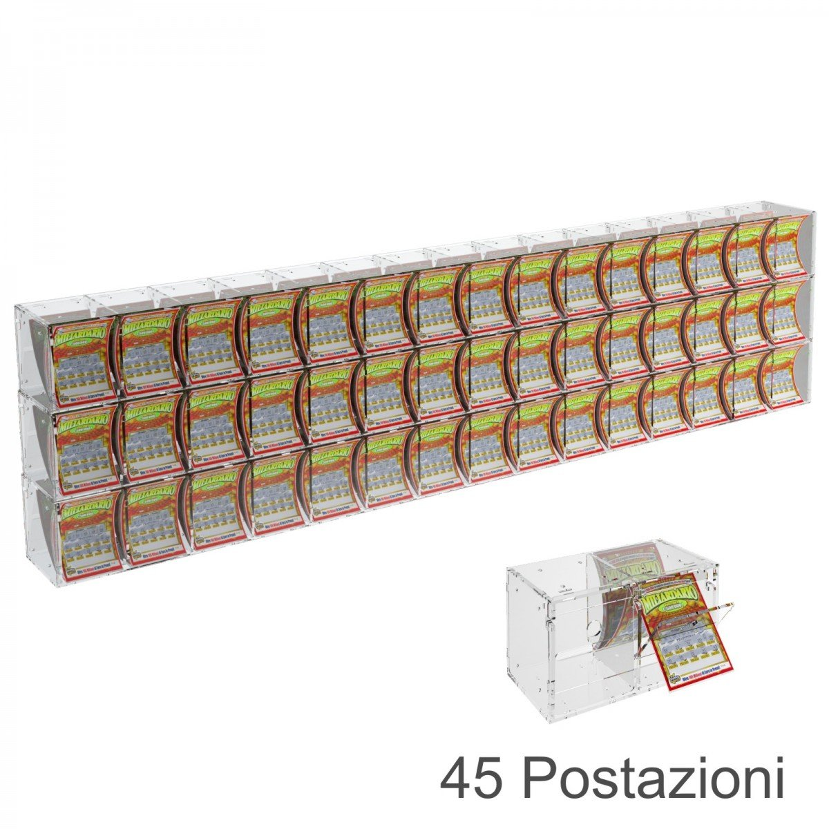 Espositore gratta e vinci da banco o da soffitto in plexiglass trasparente a 45 contenitori munito di sportellino frontale lato rivenditore