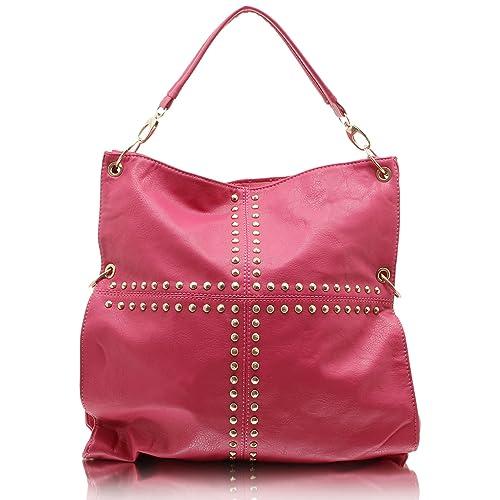 b156bafa54fd4 Jennifer Jones 3981 Handtasche Damen Damentasche Henkeltasche  Schultertasche Tasche Nieten pink