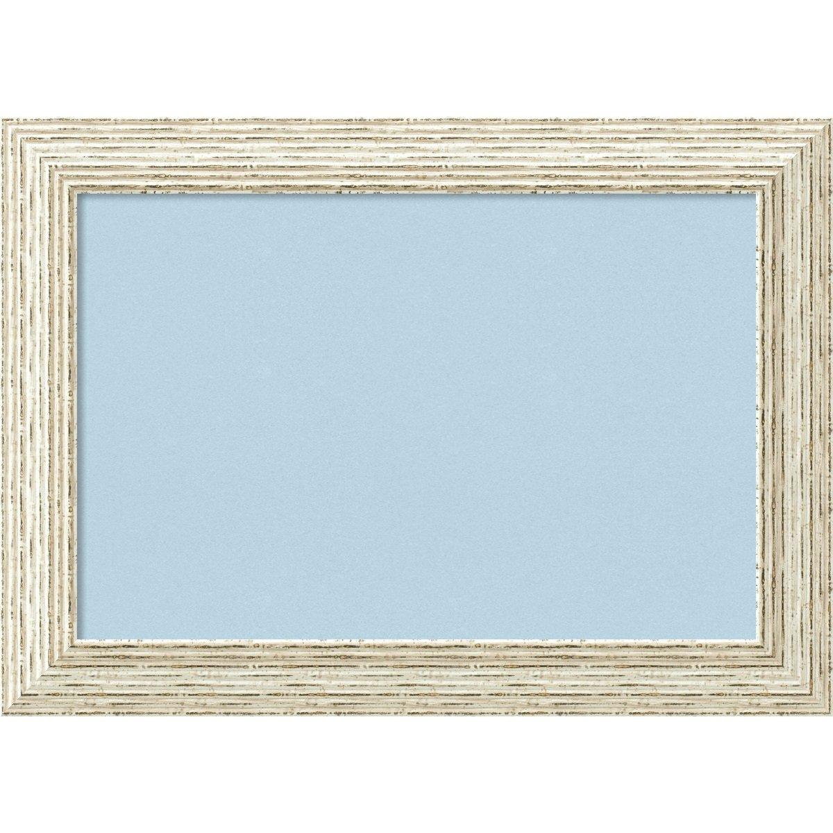 Amanti Art Blue Cork Cape Cod White Wash Framed Bulletin Boards, Small,