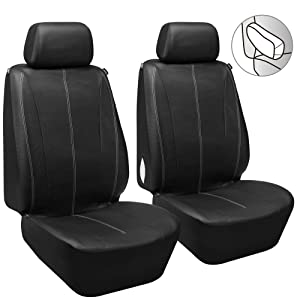 Elantrip PU Leather Front Seat Covers Car Bucket Seat Cover Universal Fit Airbag Armrest Compatible for Auto SUV Truck Van, Black 2 PC