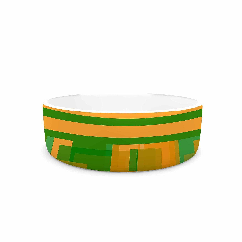 KESS InHouse Trebam Listati V2 orange Green Modern Vector Pet Bowl, 7  Diameter